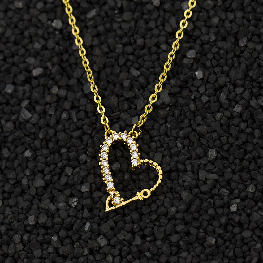 Boho CZ Mini Love Heart Statement Necklace Women Men Jewelry Gold Silver <font><b>Ketting</b></font> Crystal Pendant Necklace Bijoux Femme <font><b>Bff</b></font> Gifts image