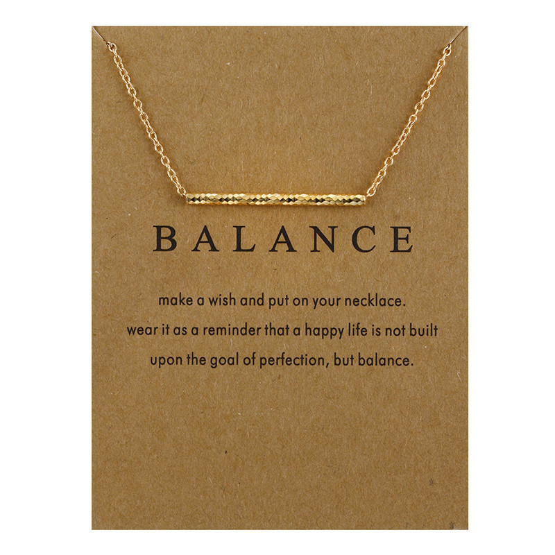 New Gold-color Choker Necklaces Balance Wood Straight Bar Alloy Clavicle Snake Pendant Necklace Message Card Party Jewelry Gift image