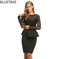 Elegant Peplum Slit Floral Lace Dress Women Bodycon Black O Neck Bodycon Spring Long Sleeve Party