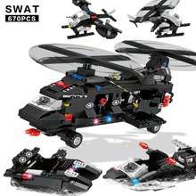 6 IN 1 City SWAT Police Aircraft Building Blocks Truck Yacht Helicopter Parachute Figure Bricks For Children Gifts