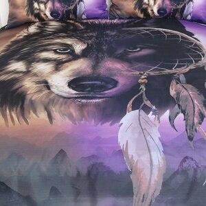 Image 3 - BeddingOutlet 3D Wolf Bedding Sets Luxury Dreamcatcher Duvet Cover Mountain Bed Cover Set Queen Size Purple Bedclothes Drop Ship