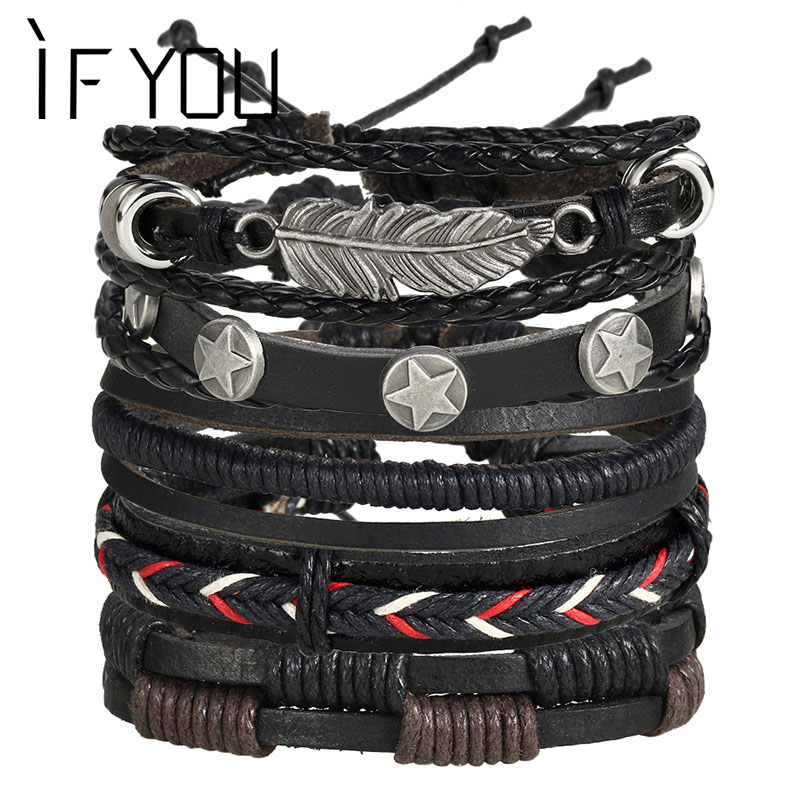 IF YOU Feather Pentagram Multiple Layers Leather Bracelets Men Classic Rope Chai