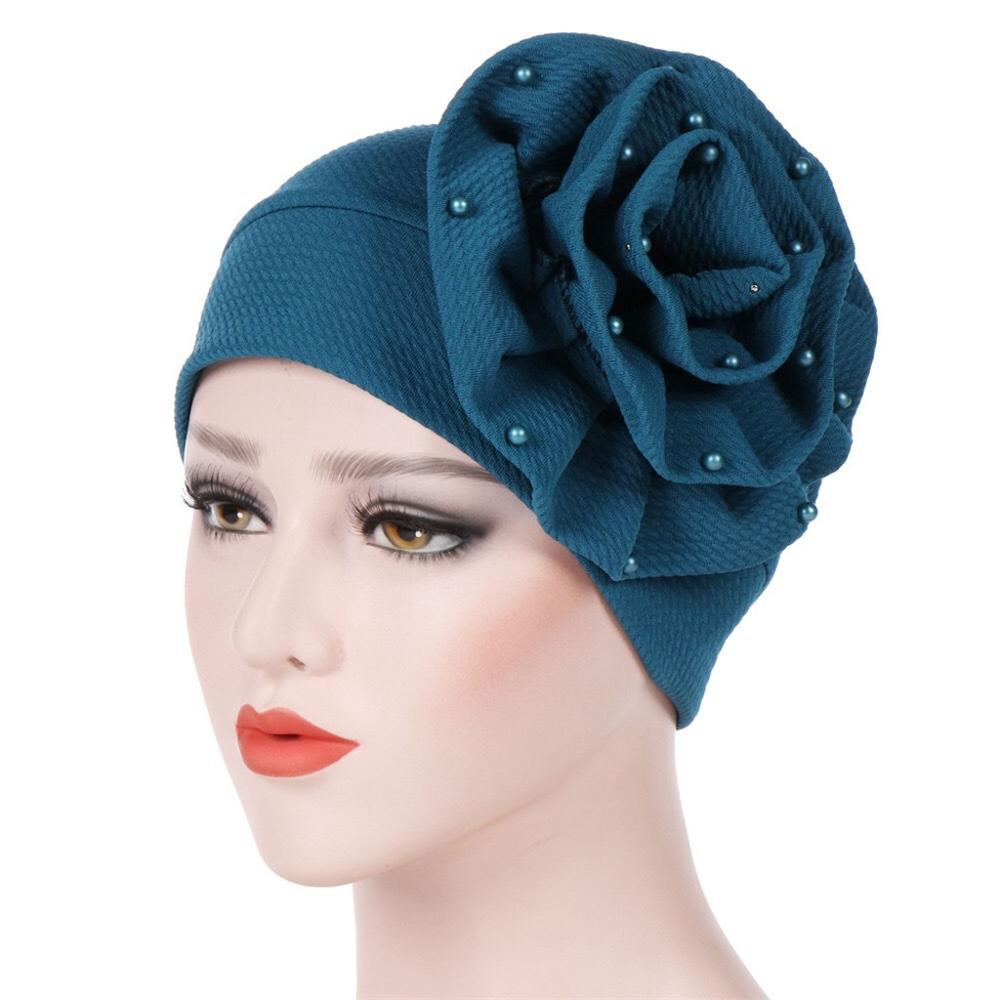 Women's Fashion Head Wrap Hijab Cancer Turban Chemo Hat Beanie Flower Black White