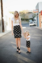 Polka dot mother & daughter matching cotton dresses