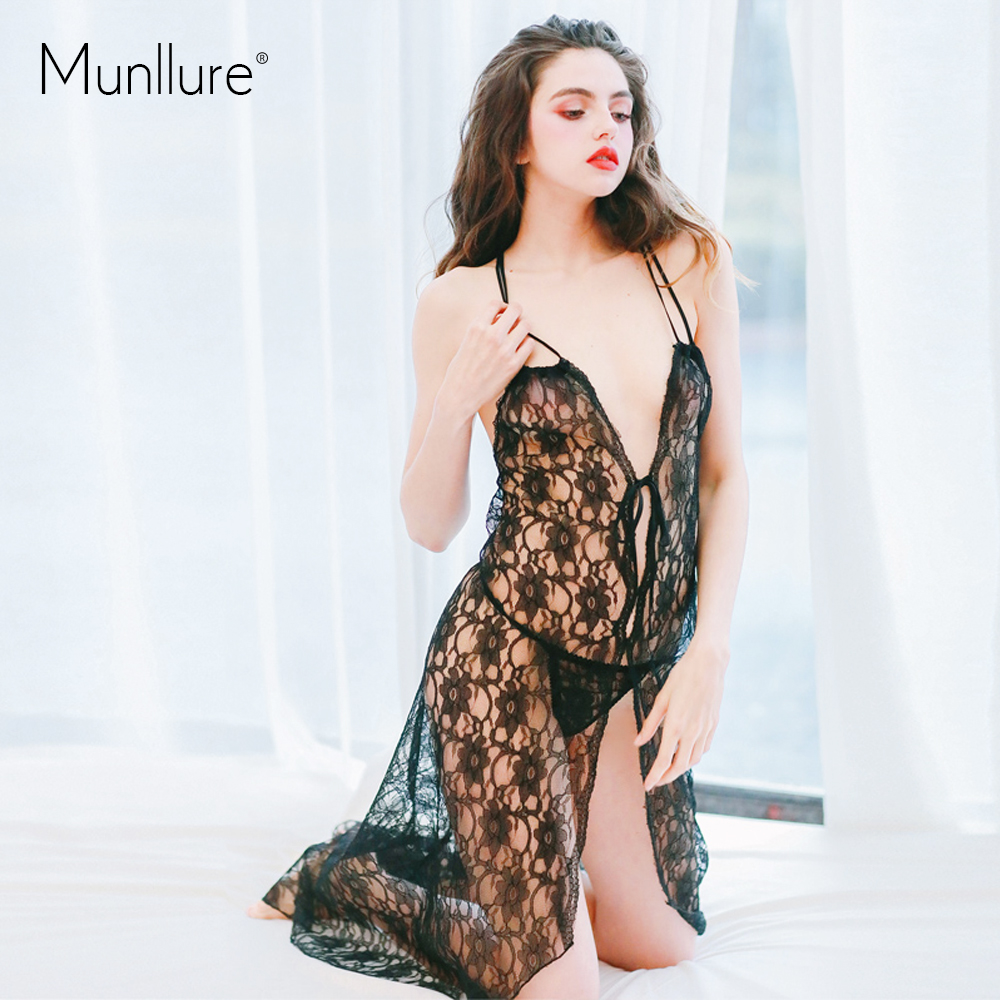 Munllure 2017 New Arrival Summer Sexy Embroidery Women Nightie Female Lounge Set Nightwear Lace Bath Robe for Lady Nigtht Suit