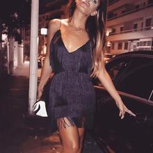 Bodycon кисточкой платья для женщин Лето г. vestidos Для знаменитости платья вечеринок Спагетти ремень кисточкой бахрома клубное мини