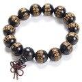 Joyería de la manera Natural de Alta Calidad Ebony Prayer Beads Pulseras Gran Compasión Mantra Budista Buda Pulsera hombres