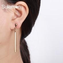 Metal Strip Clip On Earrings Women Fashion No Ear Hole Earring Trendy Simple Style Gold-color Geometric Clip Earrings  CE18