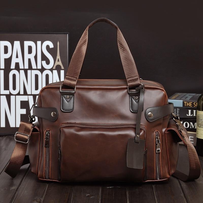 все цены на 2108New Male bag England Retro Handbag shoulder bag PU leather men messenger bags brand high quality men's travel crossbody bags онлайн