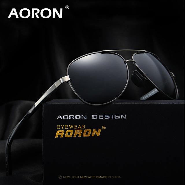 AORON Marca Mens Conducción Pesca gafas de Sol Polarizadas de Los Hombres Gafas de Aviador Hombres UV400 Classic Piloto Gafas de Sol con la Caja