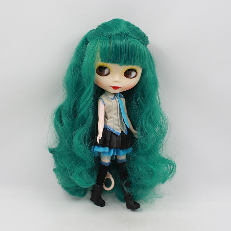 Free shipping Nude Blyth doll diy makeup doll green long hair with bangs bjd dolls for sale  free shipping neo blyth nude doll light gold hair with bangs suit for diy fashion dolls