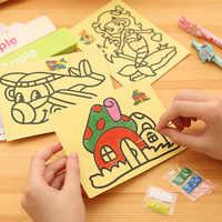 10 Pcs Kinder Zeichnung Spielzeug Sand Malerei Bilder Kid DIY Handwerk Bildung Spielzeug für Jungen Mädchen Zeitplan Aufkleber Cartoon-Muster