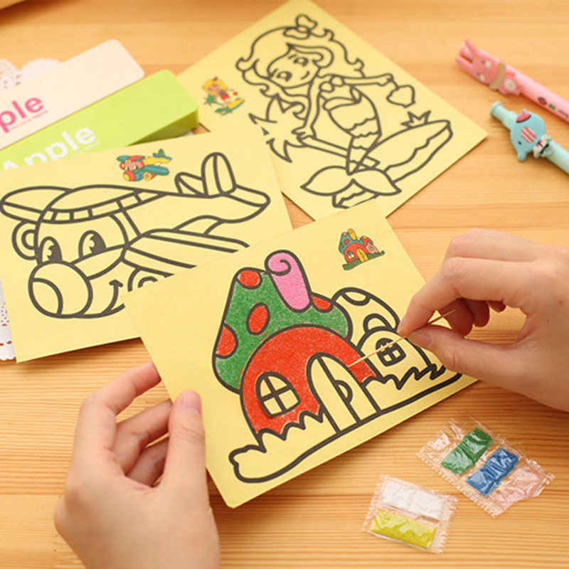 10Pcs Children Drawing Toys  Sand Painting Pictures Kid DIY Crafts Education Toy For Boys Girls Schedule Sticker Cartoon Pattern