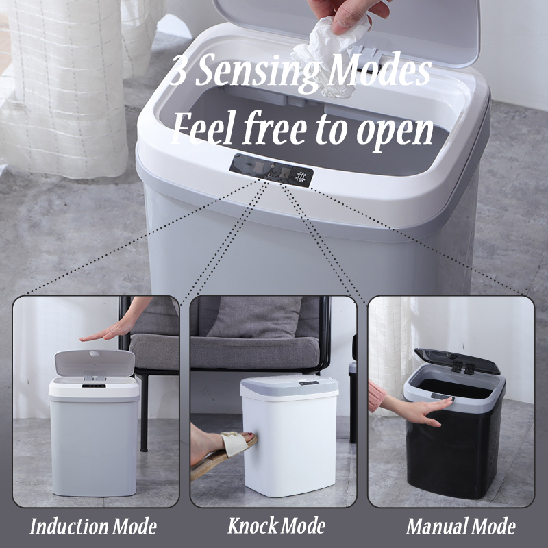 Home intelligent automatic induction electric trash can kick barrel battery version infrared tapping dual mode in Waste Bins from Home Garden