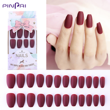 24 Pcs/Set Frosted Matte Reusable False Nails 5 Color Mixed Size Designs Full Nail Tips Press On Fake Ballet Manicure Tools