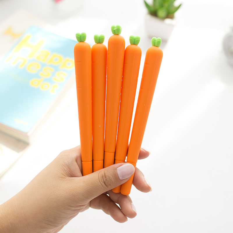 4PCS//lot Carrot Silicone Gel Ink Pens for Stationery School Supply 0.5mm Black