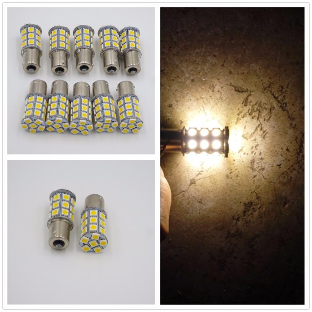 10 x branco morno 27 smd led 1156 ba15s p21w 1141 rv campista trailer interior lâmpadas 12 v 24 v