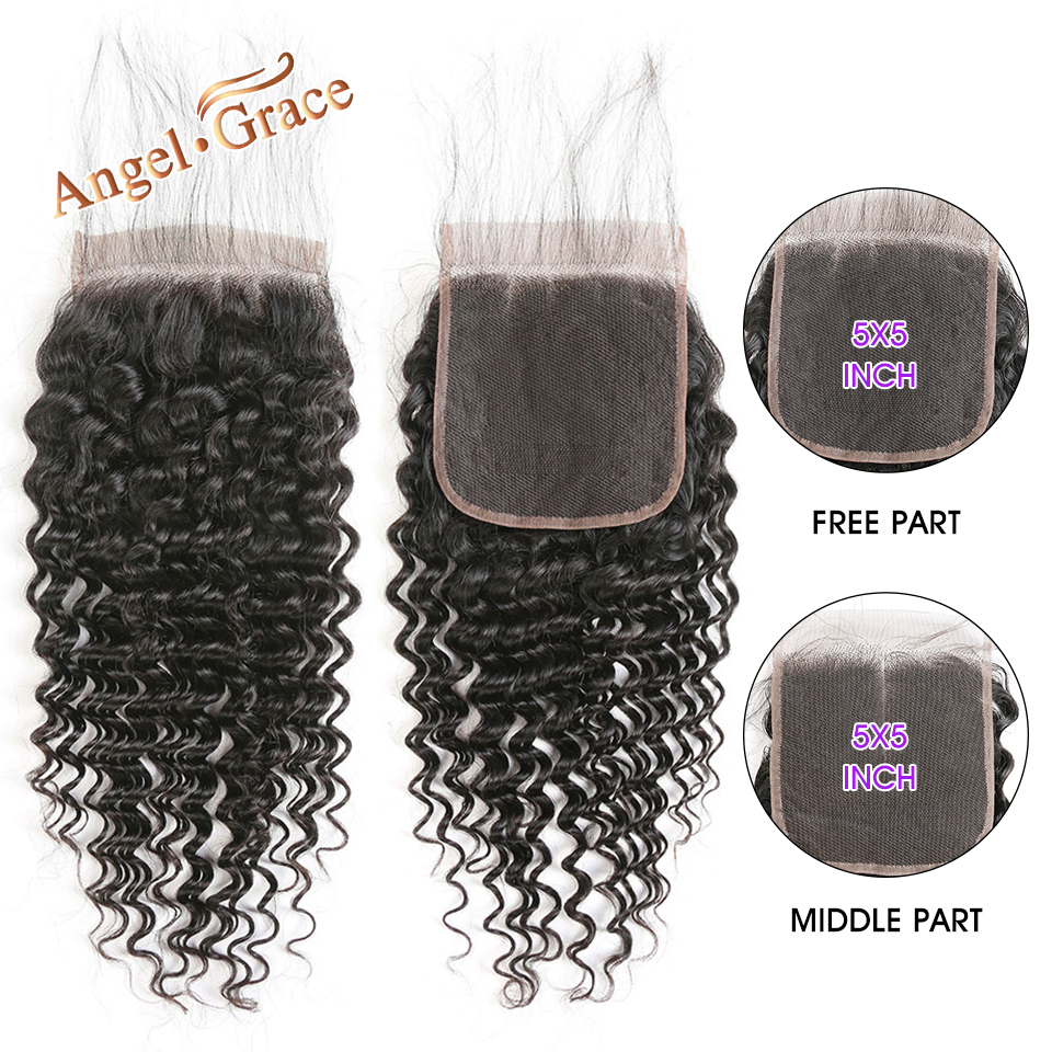 Angel Grace Hair Brazlian Deep Wave Lace Closure 5x5 Free Middle Part Closure Remy Human Hair