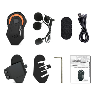 Image 5 - Freedconn t max intercomunicador de motocicleta, para capacete, bluetooth, headset, 6 pilotos, grupo de conversação, rádio fm, bluetooth 4.1