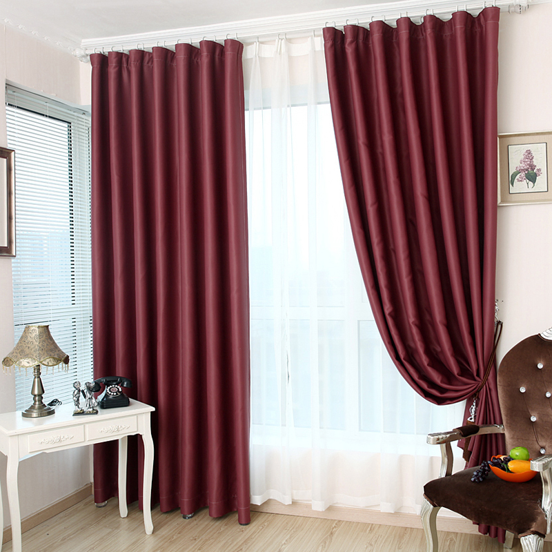 2014 japanese korean style curtains for living room burgundy wine red solid bay window for Red and cream curtains for living room