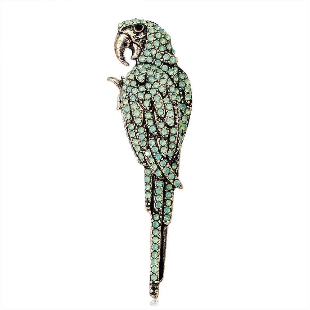 Cindy Xiang Berlian Imitasi Parrot Bros untuk Wanita Besar Burung Bros Pin Fashion Perhiasan 2 Warna Tersedia Kualitas Tinggi Hadiah Yang Bagus