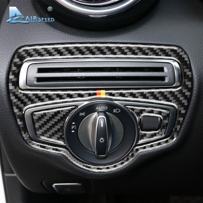 Airspeed for Mercedes Benz W205 C Class C180 C200 C300 GLC Accessories LHD Carbon Fiber Car Headlight Switch Cover Trim Sticker