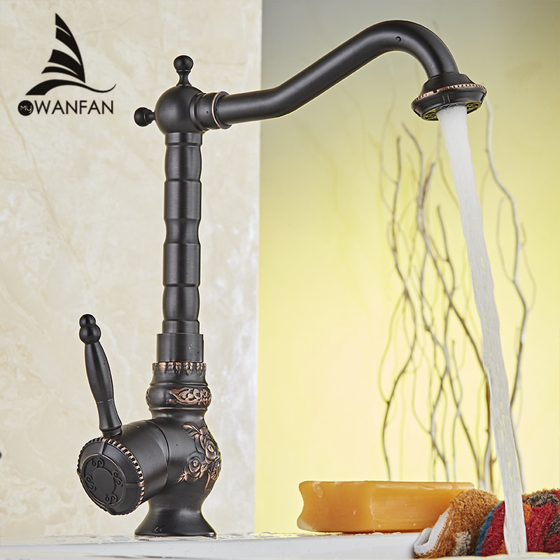 Home Improvement Accessories Black Brass Kitchen Faucet Swivel Bathroom Basin Sink Mixer Tap Crane Cold And Hot Water 10701H