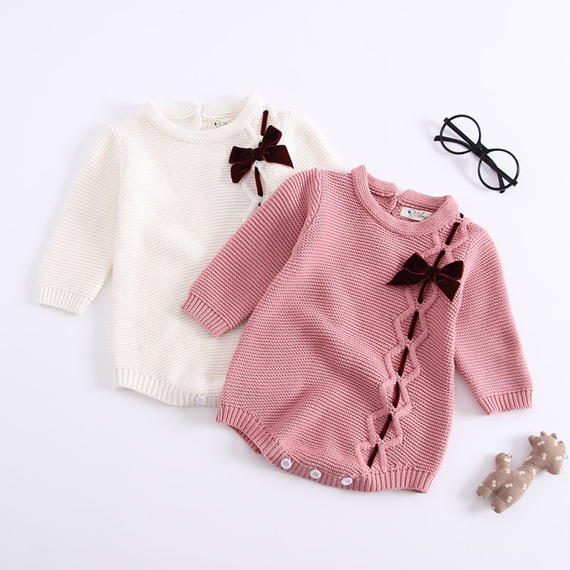 MYUDI - Baby Sweater Girls Bodysuits Pullover Children Cotton Jumper One-pieces Bow-tie Knitted long-sleeve Toddler clothes