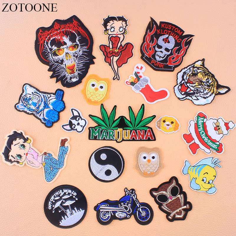 25fbd051e3 ZOTOONE Motorcycle Tiger Patches Appliques For Clothes Jacket Hat Applique  Christmas Embroidered Patch Bike Girl Leaf