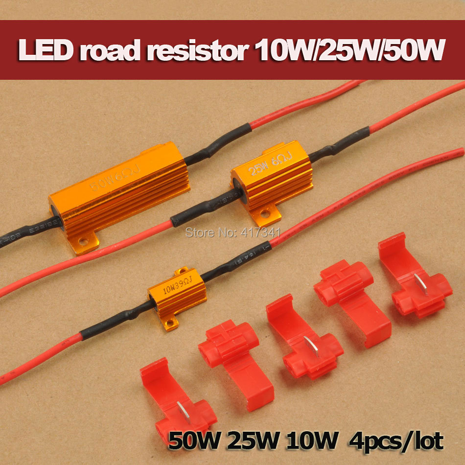 Free Shipping Car LED DRL Fog Turn Singal Load Resistor 50W 25W 10W for Fix LED Bulb Fast Hyper Flash Turn Signal 4pcs/lot