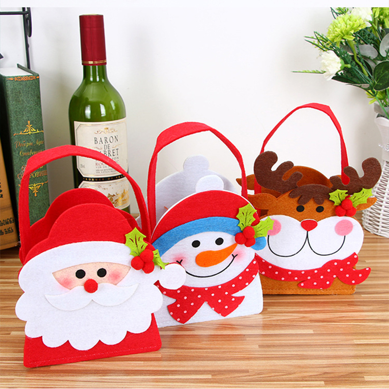 Smiry 1pc Christmas Decoration Supplies For Home Santa Claus Socks Style Christmas Candy Bag Christmas Drop Ornaments