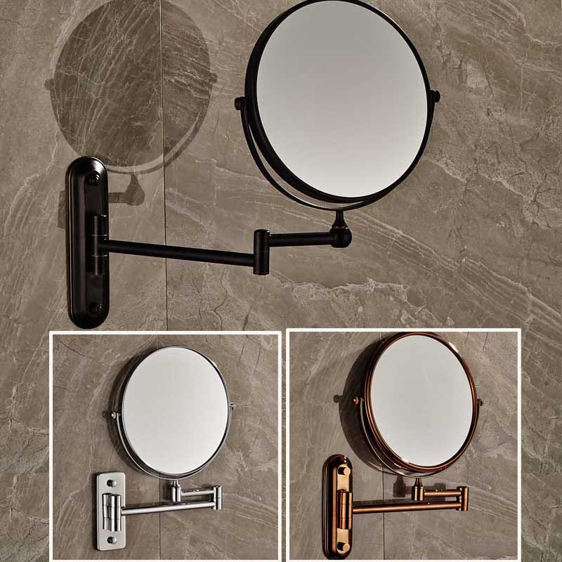 Free Shipping 8 Wall Mounted Round Magnifying Bathroom Mirror  Brass Makeup Cosmetic Mirror  Lady's Private Mirrors large 8 inch fashion high definition desktop makeup mirror 2 face metal bathroom mirror 3x magnifying round pin 360 rotating