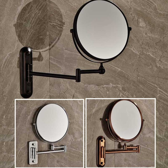 "Free Shipping 8"" Wall Mounted Round Magnifying Bathroom Mirror  Brass Makeup Cosmetic Mirror  Lady's Private Mirrors"