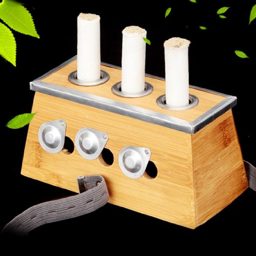 Bamboo Three Hole Healing Box for Moxa Moxibustion Medicine Therapy emotional healing for horses