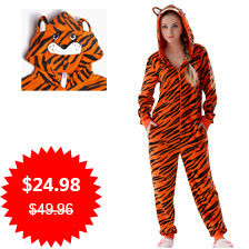 JuiceMate Adult Plus Size Micro Fleece Animal Costume Overall Pyjama Suit Hooded Tiger Pajama Onesie For Men Women 11