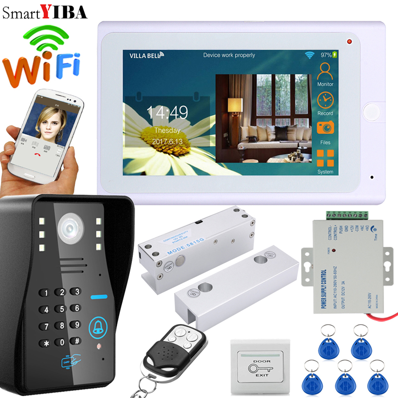 SmartYIBA 7 Inch White Monitor RFID Password Wifi Wireless Video Door Phone Doorbell Camera Intercom Kit With Electric Door Lock yobangsecurity wifi wireless video door phone doorbell camera system kit video door intercom with 7 inch monitor android ios app