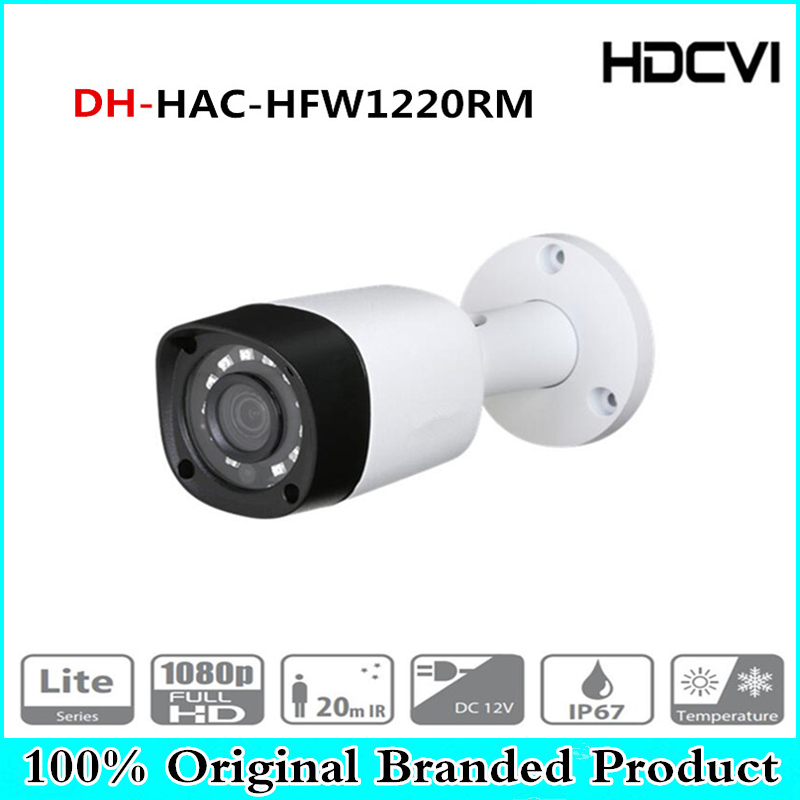 DH Wholesale HAC-HFW1220RM 2MP HDCVI IR Bullet Camera Smart IP67 2MP 1080P HD CCTV Lite Series DH-HAC-HFW1220RM With Dahua dahua 2mp hdcvi camera cctv 1080p water proof ip67 hac hfw1200s bullet camera lens 3 6mm ir leds length 30m mini security camera