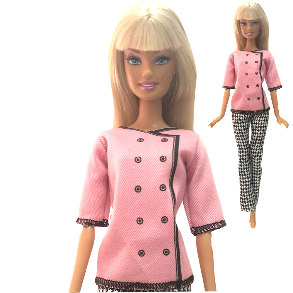 NK 2020 Newest Doll Pink Button Dress Beautiful Handmade Party Top Fashion Dress For Barbie Noble Doll Best Child Gift 003B 10X