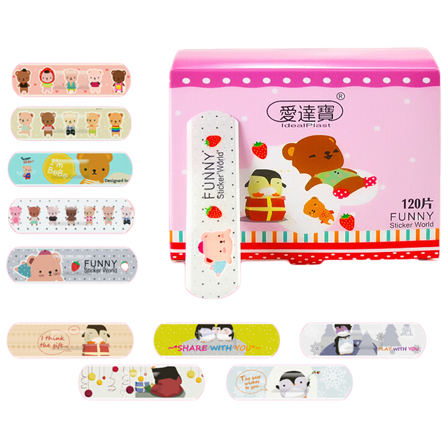 120 Pcs Cartoon Cute Band Aid Breathable Hemostasis Adhesive Bandages First Aid Emergency Kit Mini Band aid For Kids Children