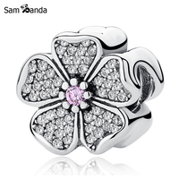 Authentic 925 Sterling Silver Bead Charm Sparkling Apple Blossom Charms Pink Crystal Fit Pandora Bracelets Women Diy Jewelry