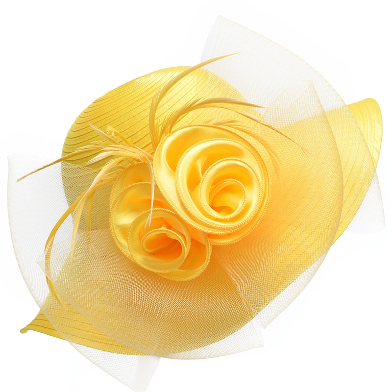 Capeline floral a grand bord en satin et crin