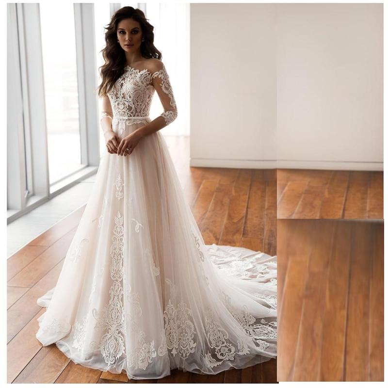 LORIE Lace Wedding Dress 3/4 Long Sleeves 2019 Vestidos De Novia V Neck Lace Sexy Bridal Gown Elegant Close Back Wedding Gowns