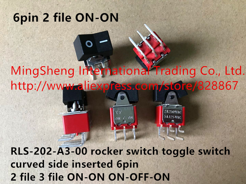 Original new 100% RLS-202-A3-00 rocker switch toggle switch curved side inserted 6pin 2 file 3 file ON-ON ON-OFF-ON original switch on off power