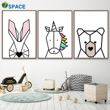 Cartoon Rabbit Bear Unicorn Minimalism Line Wall Art Canvas Painting Nordic Poster Prints Pictures Baby Kids Room Decor