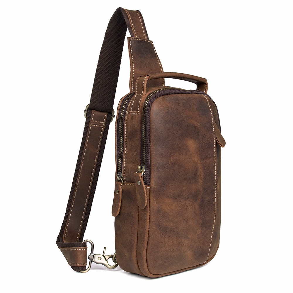 Augus Brand New Product High Quality Crazy Horse Leather Shoulder Bag Fashional Chest Bag Fits Phone / Mini Ipad / Wallets 4009B augus imported top layer leather messenger bag high quality crazy horse handbag brand new shoulder for men 7205r