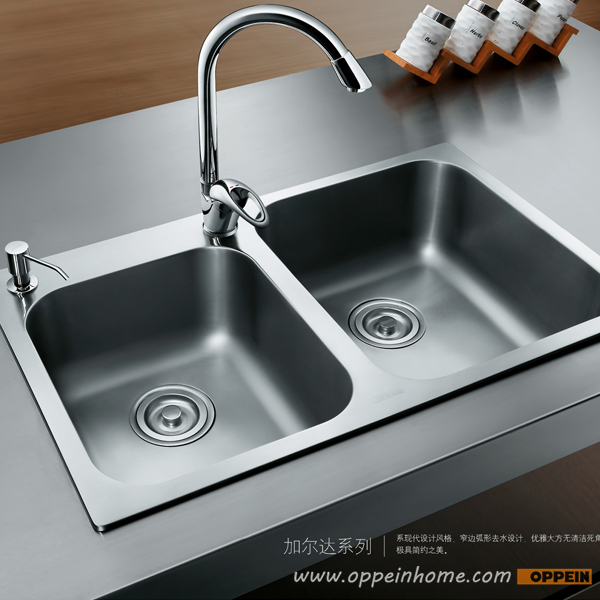 oppein stainless steel easy to clean double bowel kitchen sink with faucet op ps329 tc