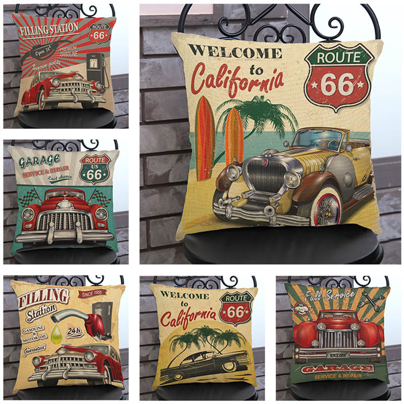 American Retro Nostalgia Car Pattern pillow cases Welcome to California The Old Car Creative home Sofa decoration cushion cover