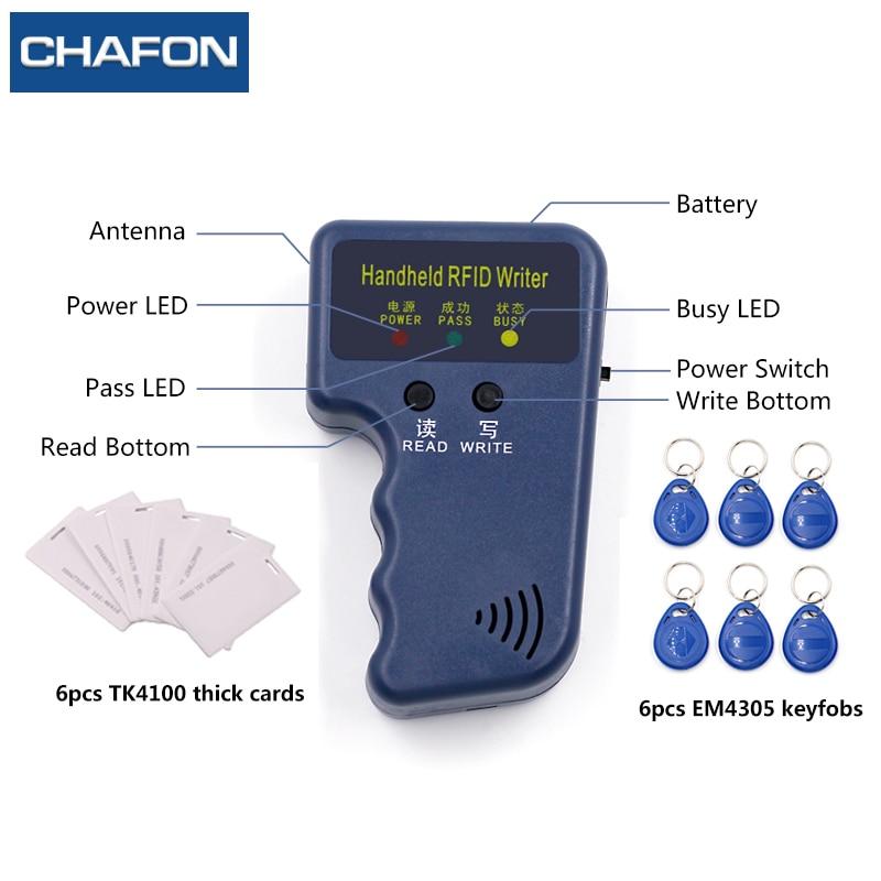 CHAFON De Poche 125 KHz EM4100 RFID Copieur Writer Duplicator Programmeur Lecteur + 6 pcs TK4100 épais cartes + 6 pcs inscriptibles télécommandes