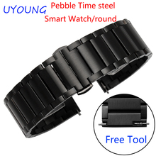 For Pebble Time Steel/Steel 2/Smart watch/Round Quality Stainless Steel Watchband Mens Luxury Steel Strap