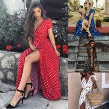 ZOGAA Women Boho Wave Point Maxi V Neck Long Dress Summer Beach Slit Spilt Sundress Dot vintage sexy women dress